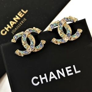 Authentic Chanel multi color Crystals studs